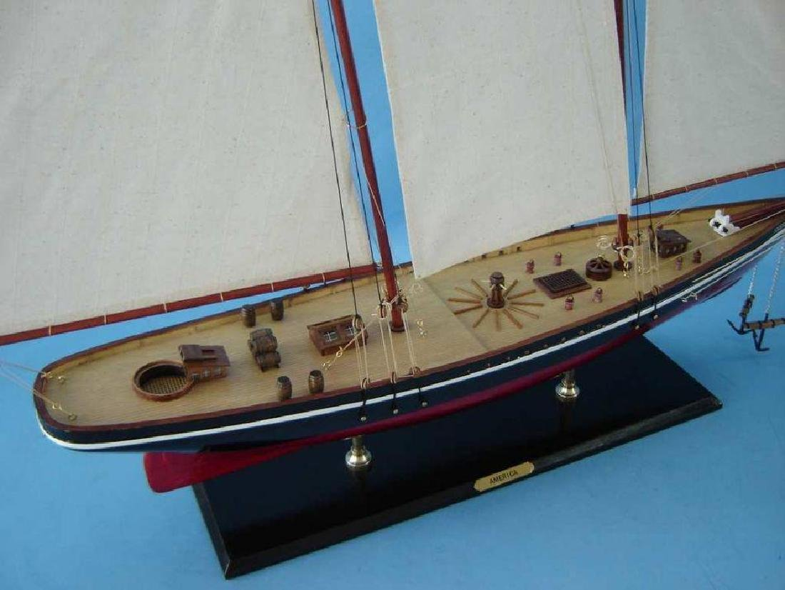 "Wooden America Model Sailboat Decoration 50"" Limited - 9"