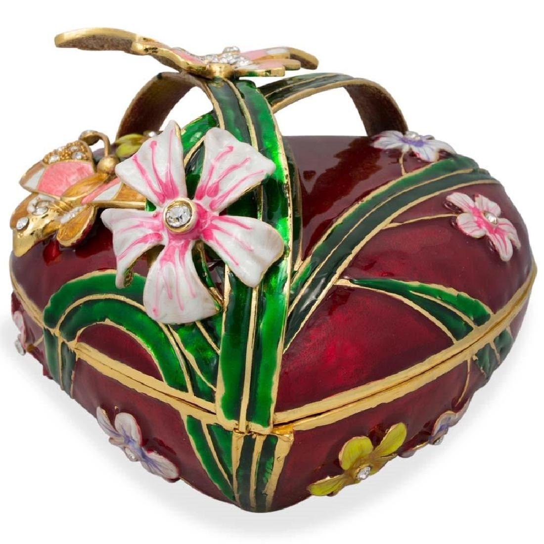 """Faberge Inspired 6.5"""" Valentine's Love Heart with - 3"""