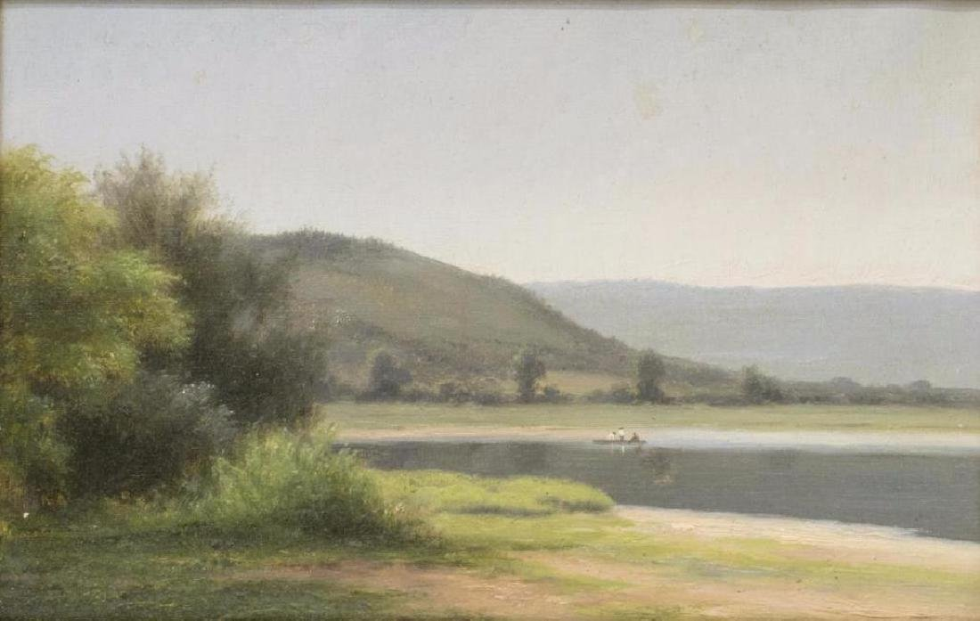 Attrib. Max Eglau (1825-1896) Hills, Lake Painting