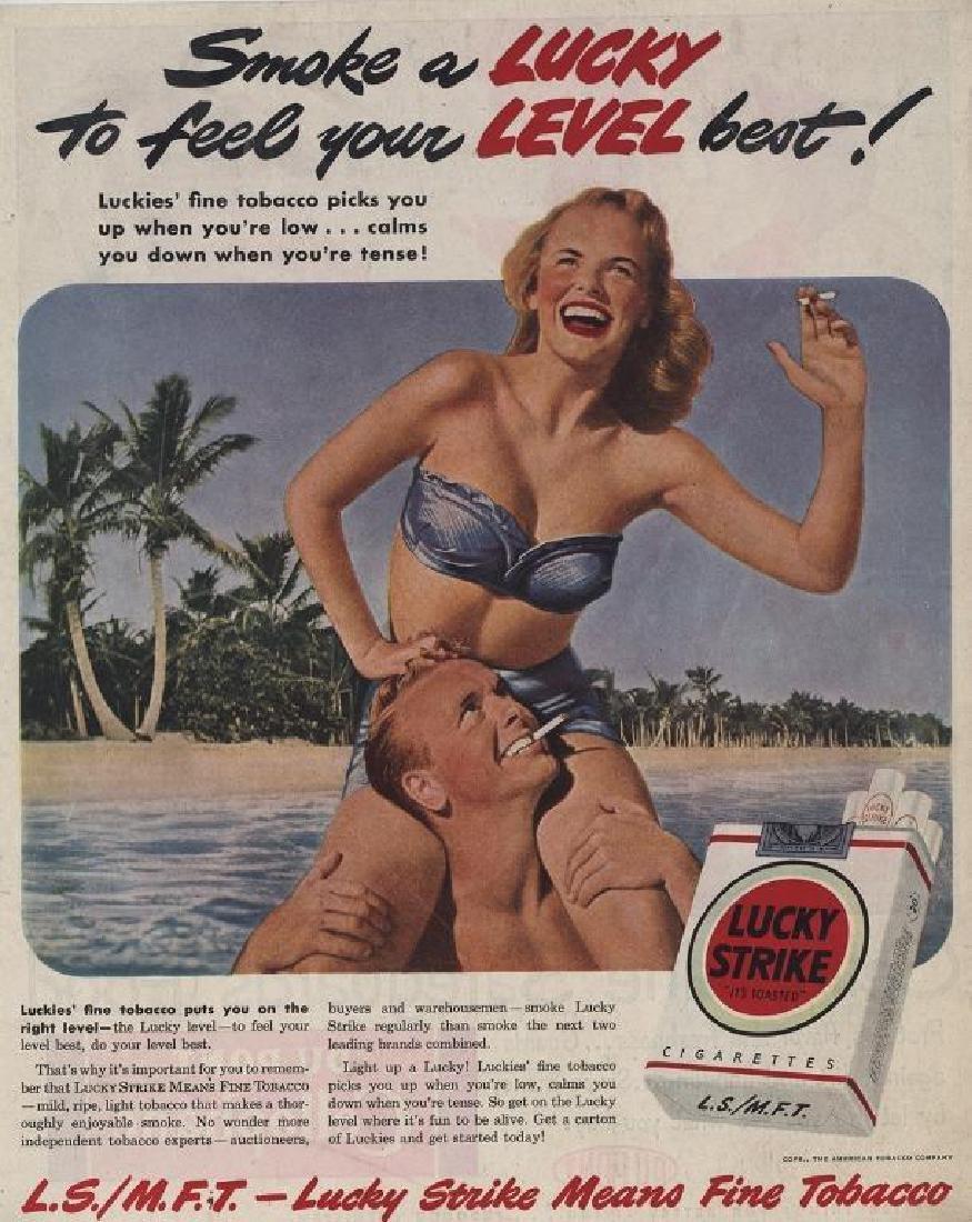 1949 Lucky Strike Cigarettes Beach Advertisement