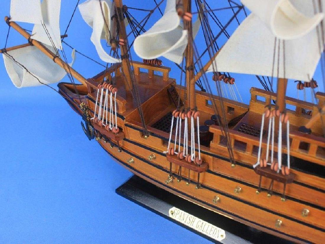 "Wooden Spanish Galleon Tall Model Ship 20"" - 10"