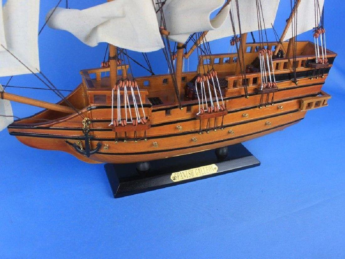 "Wooden Spanish Galleon Tall Model Ship 20"" - 11"