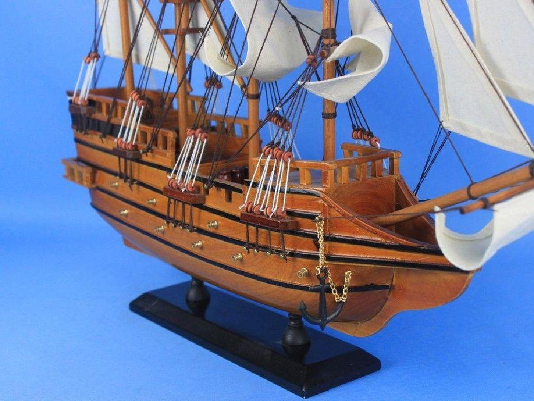 "Wooden Spanish Galleon Tall Model Ship 20"" - 3"