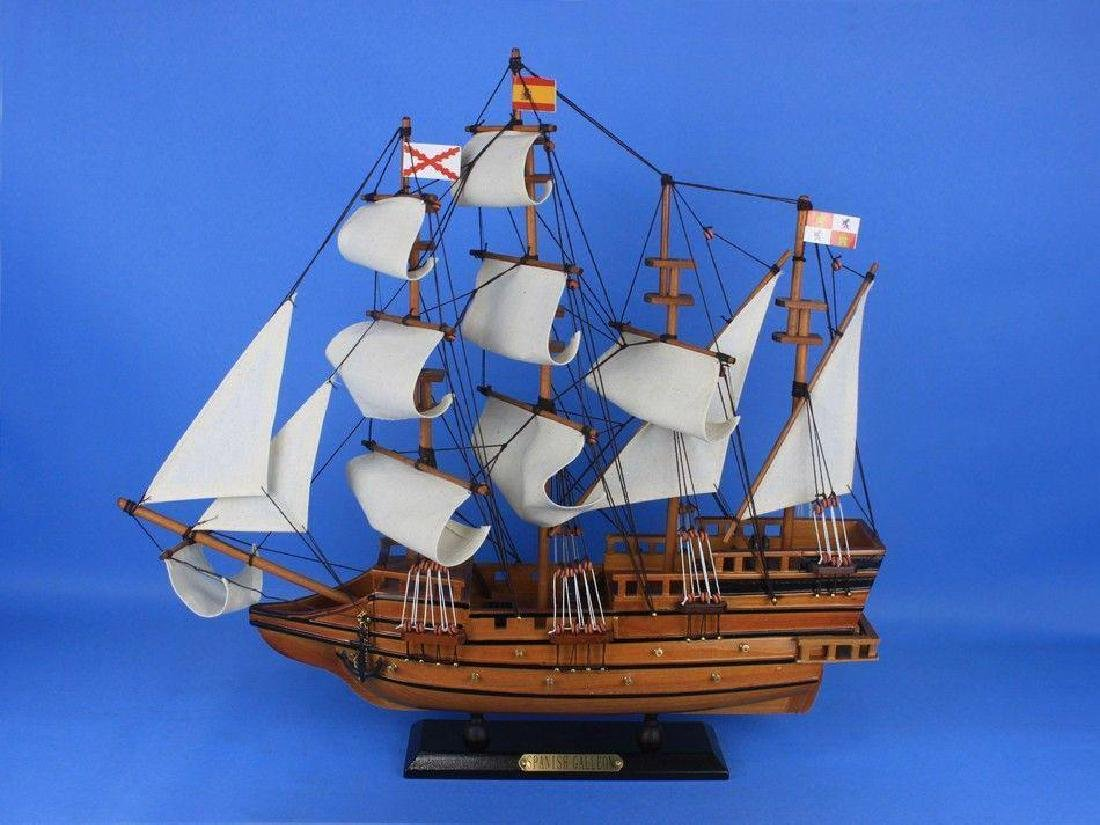 "Wooden Spanish Galleon Tall Model Ship 20"" - 6"