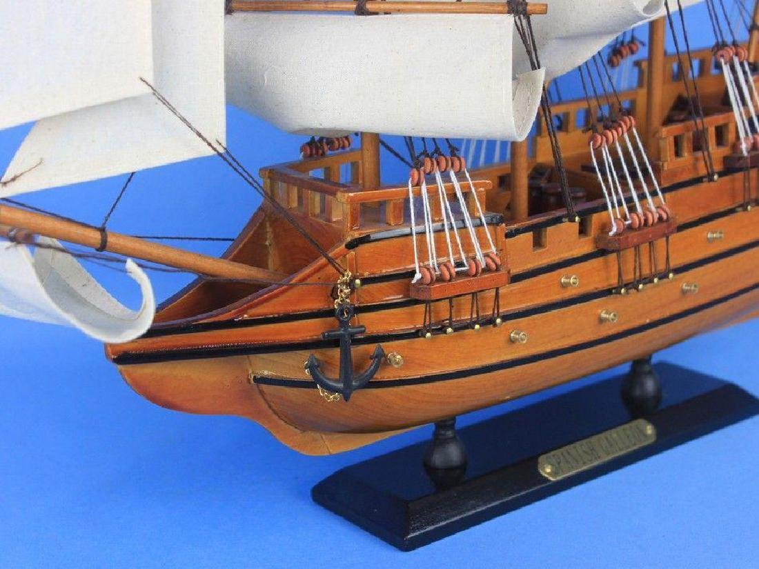 "Wooden Spanish Galleon Tall Model Ship 20"" - 8"