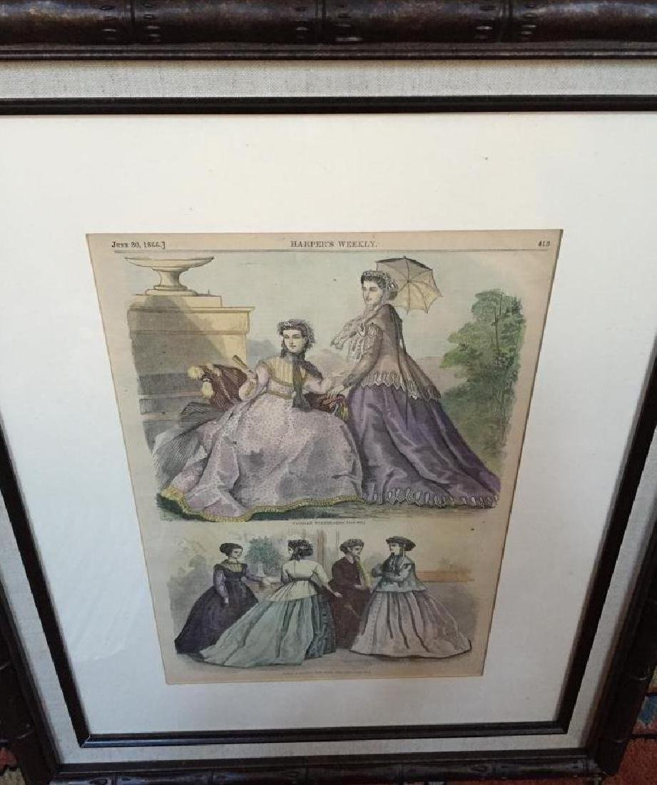 1866 Hand-colored Engraving, Paris Fashions - 2