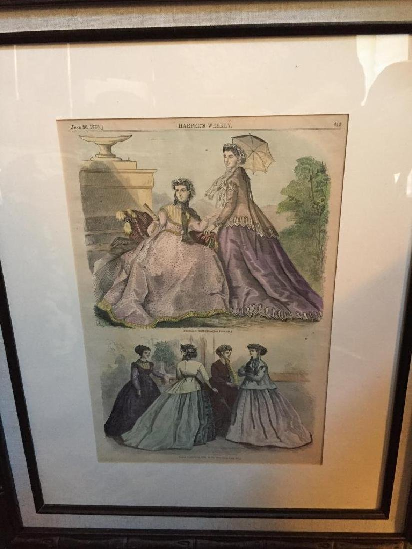 1866 Hand-colored Engraving, Paris Fashions - 3