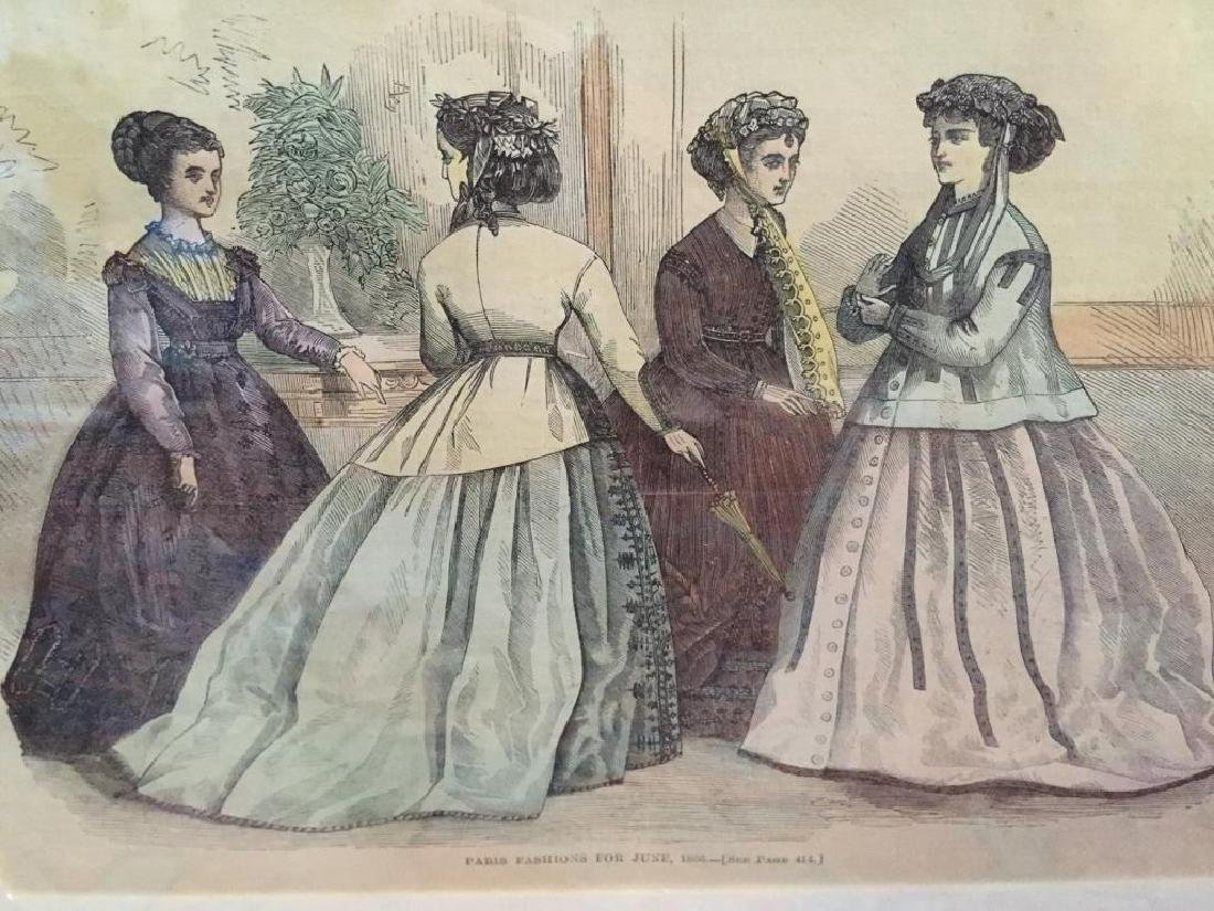 1866 Hand-colored Engraving, Paris Fashions - 4