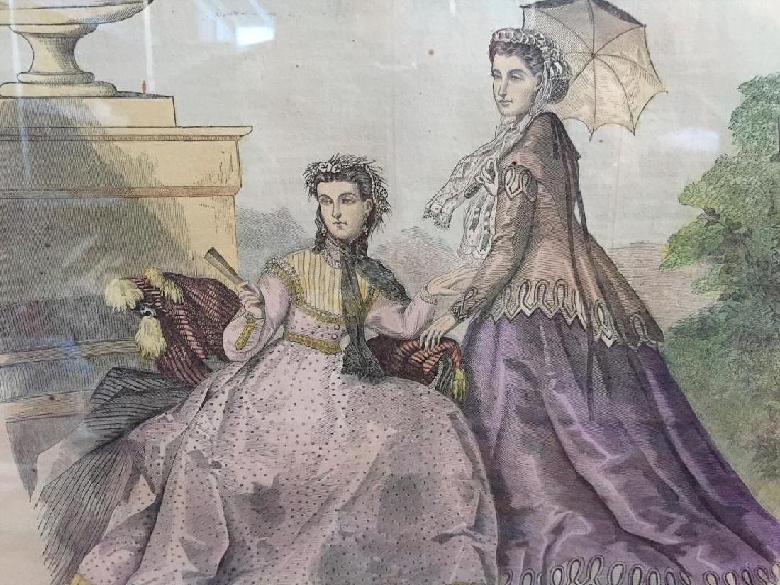 1866 Hand-colored Engraving, Paris Fashions - 5