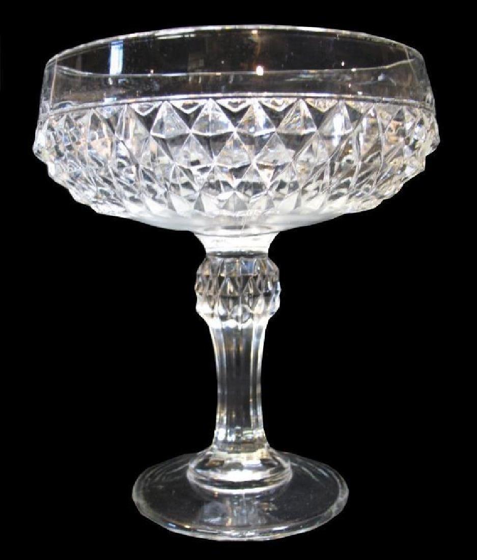 Diamond Pressed Glass Pedestal Candy Dish