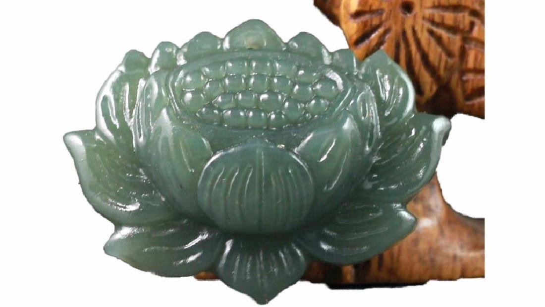 Chinese New natural Hetian jade hand-carved lotus