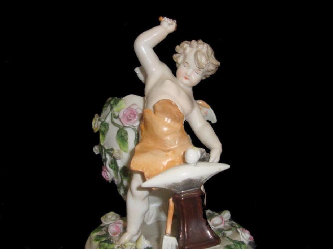 19thc Dresden Sitzendorf Porcelain Figural Vase - 4
