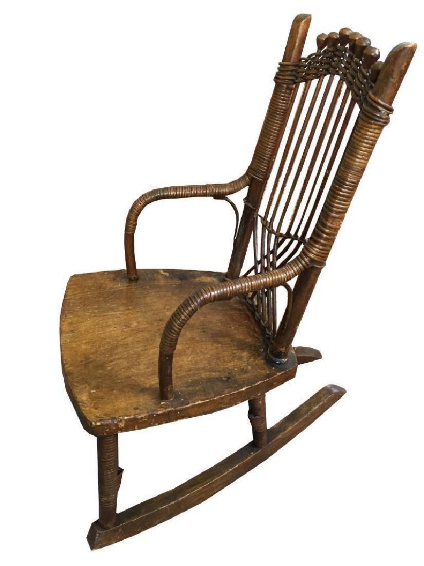 19thc Primitive Child's Cane Rocking Chair - 2