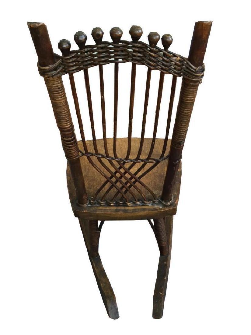 19thc Primitive Child's Cane Rocking Chair - 3