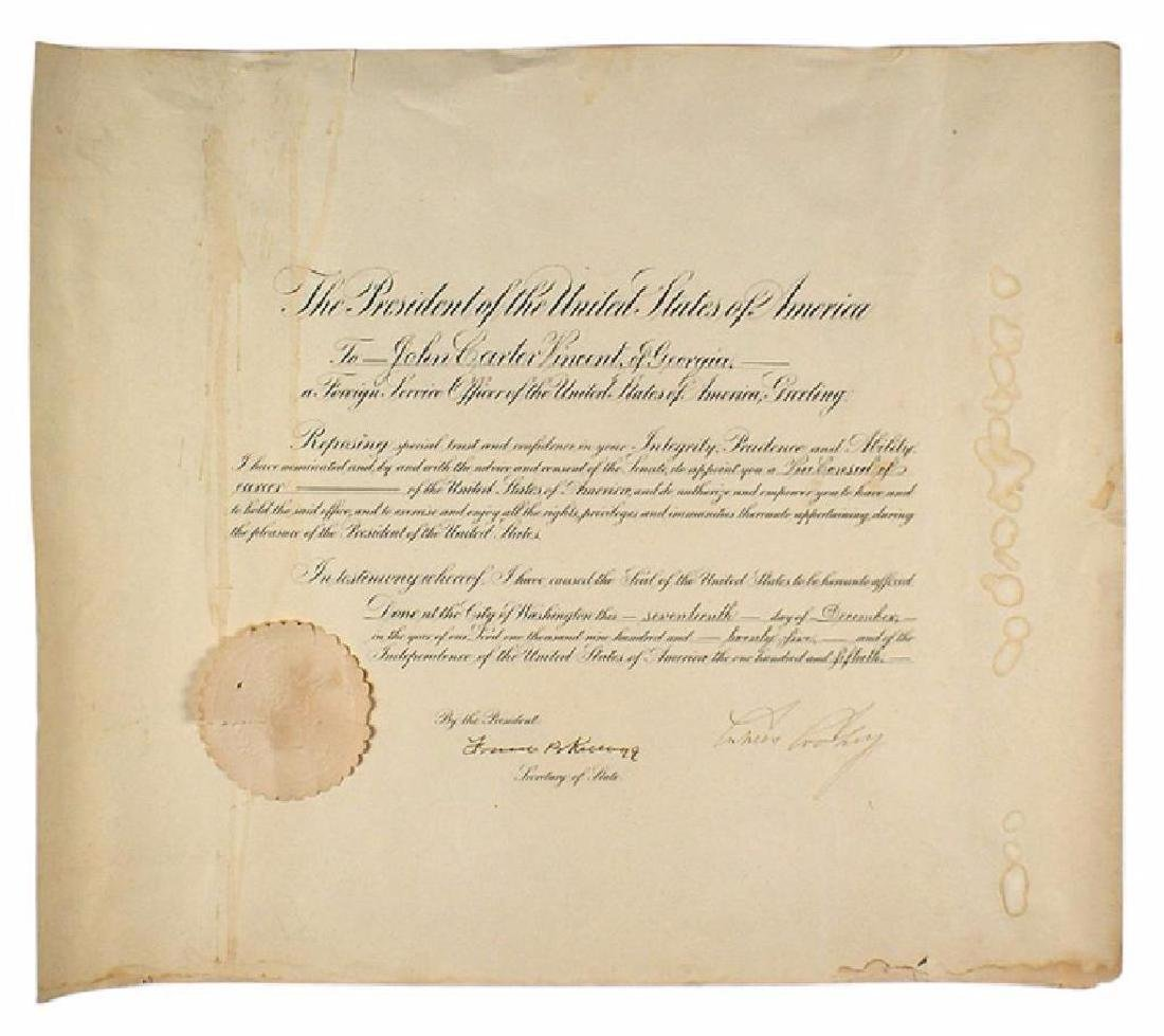 Presidential appointment signed by Calvin Coolidge