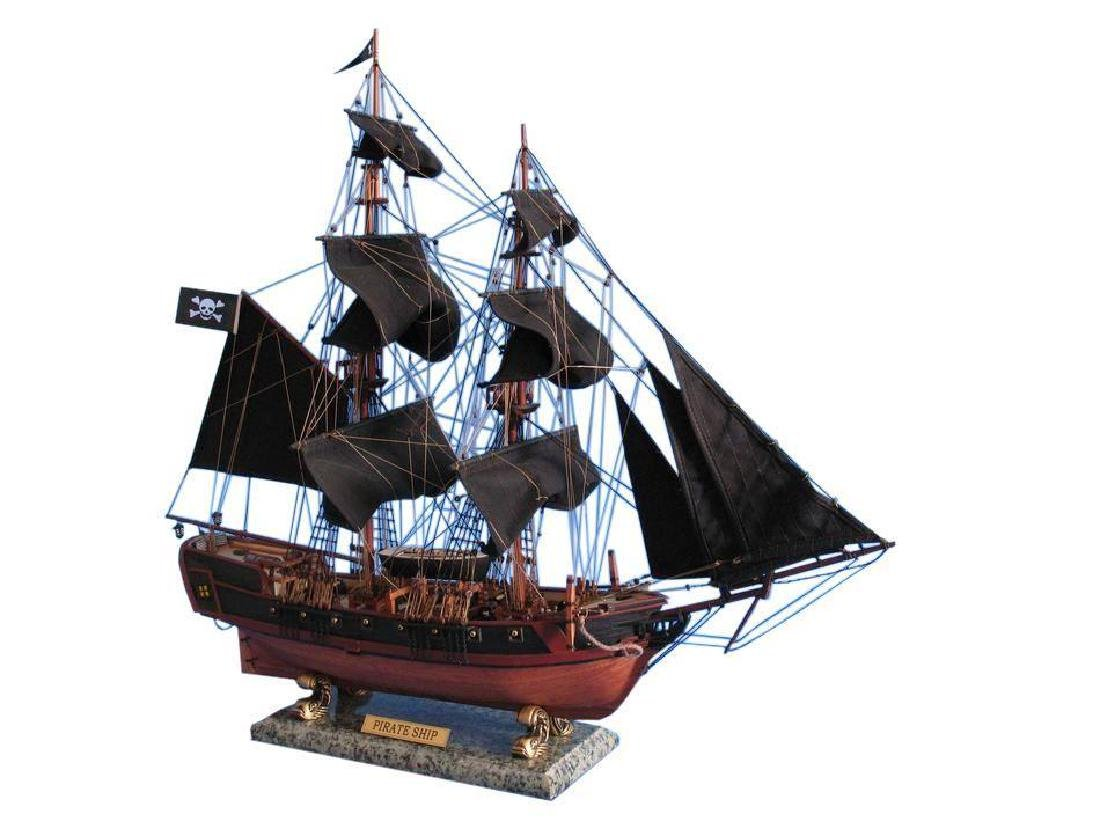 """Wooden Caribbean Pirate Ship Model Limited 26"""" - Black"""