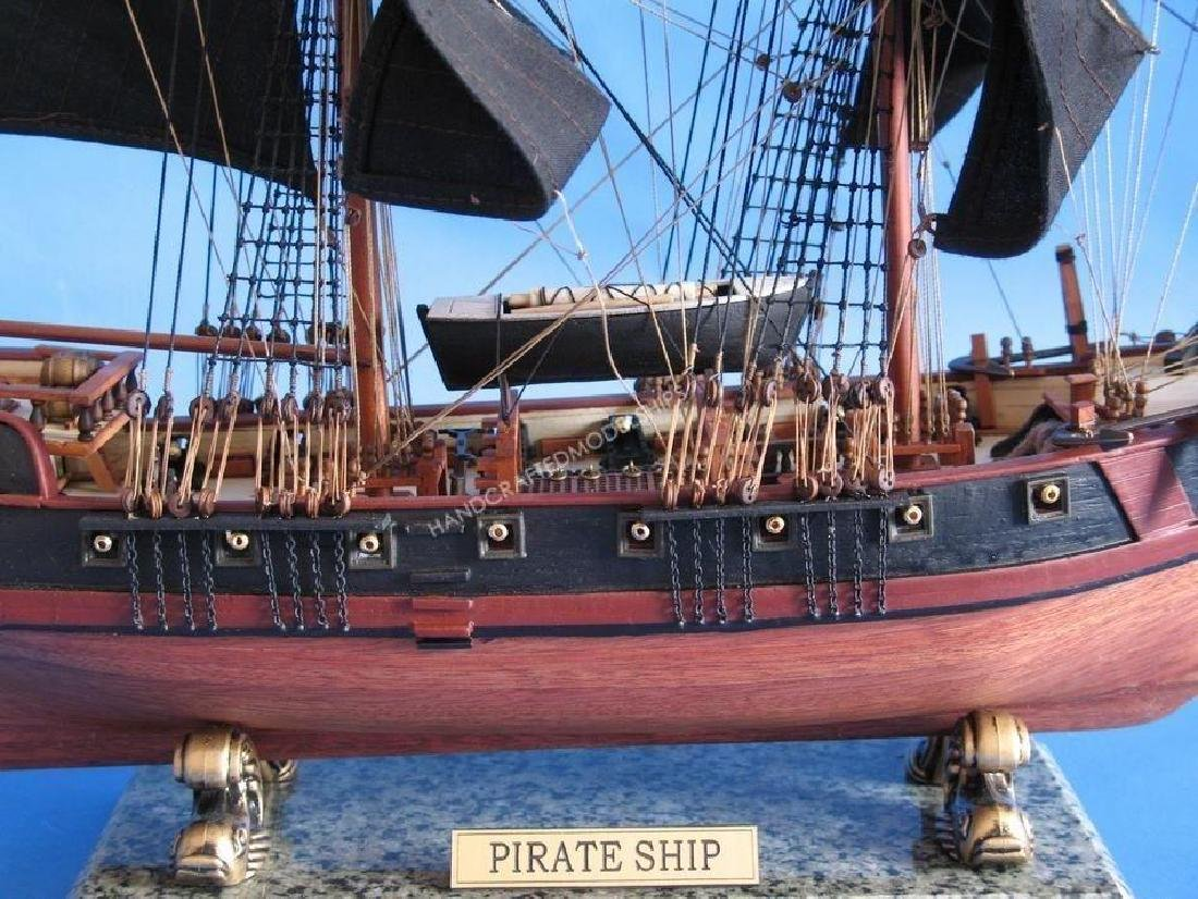 """Wooden Caribbean Pirate Ship Model Limited 26"""" - Black - 4"""