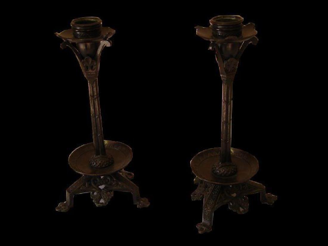 19thc Pair of Aesthetic-Style Bronze Candlesticks - 4