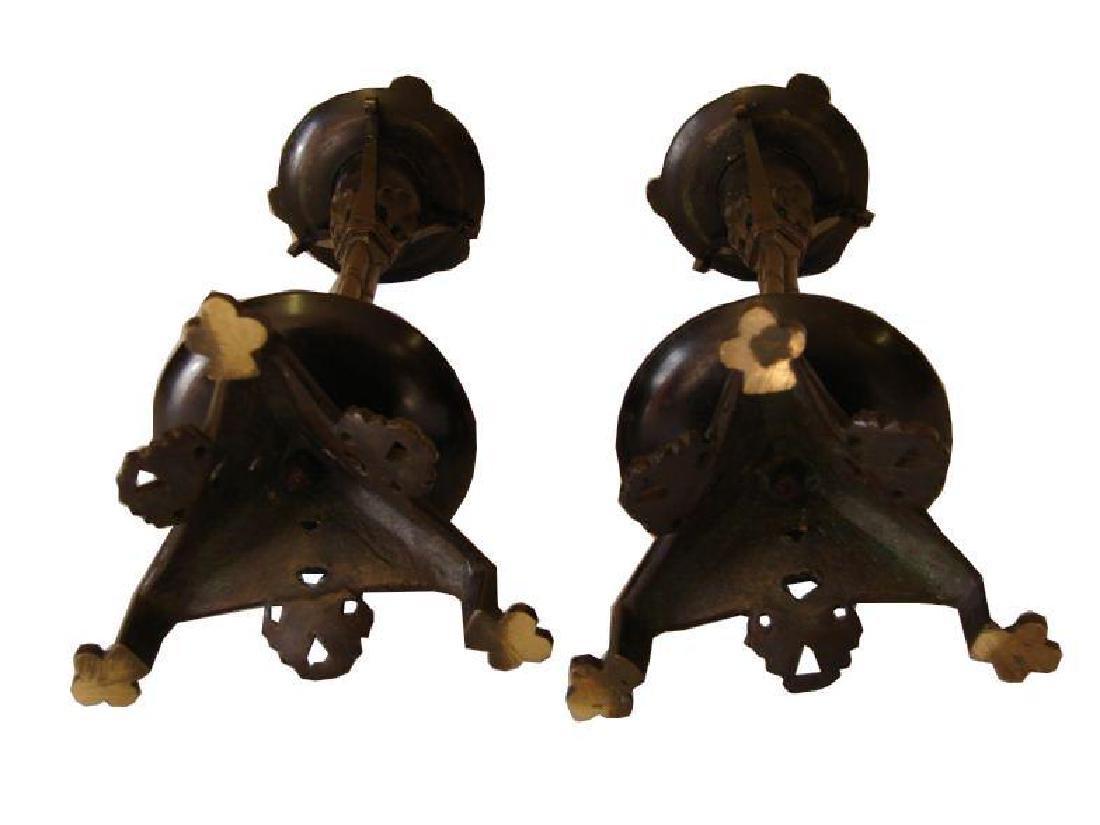 19thc Pair of Aesthetic-Style Bronze Candlesticks - 6
