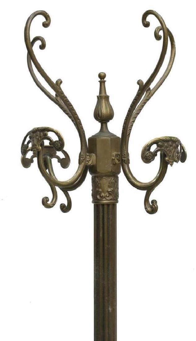 Gilt Brass Hall Tree With Coat & Hat Rack