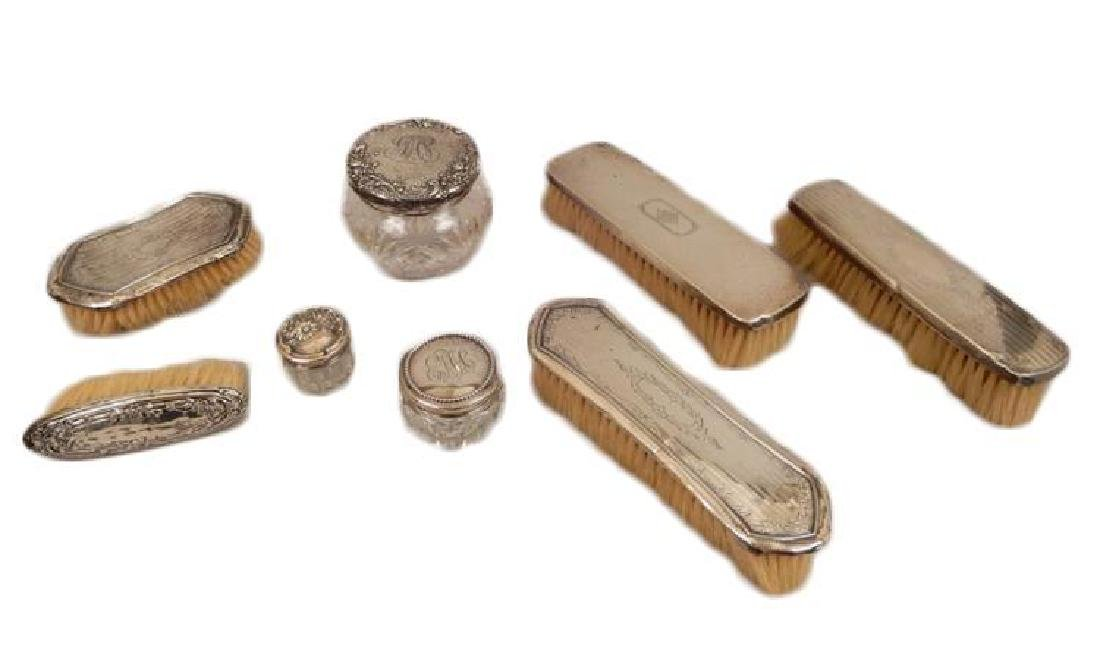 Grouping of sterling silver dresser pieces