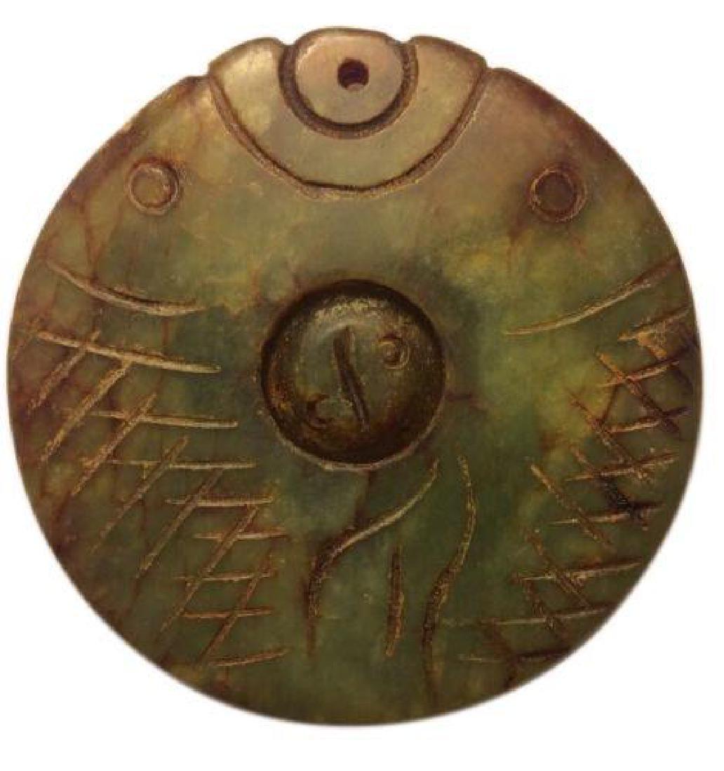 Antique Chinese Jadeite Fish Pendant Disk Carved