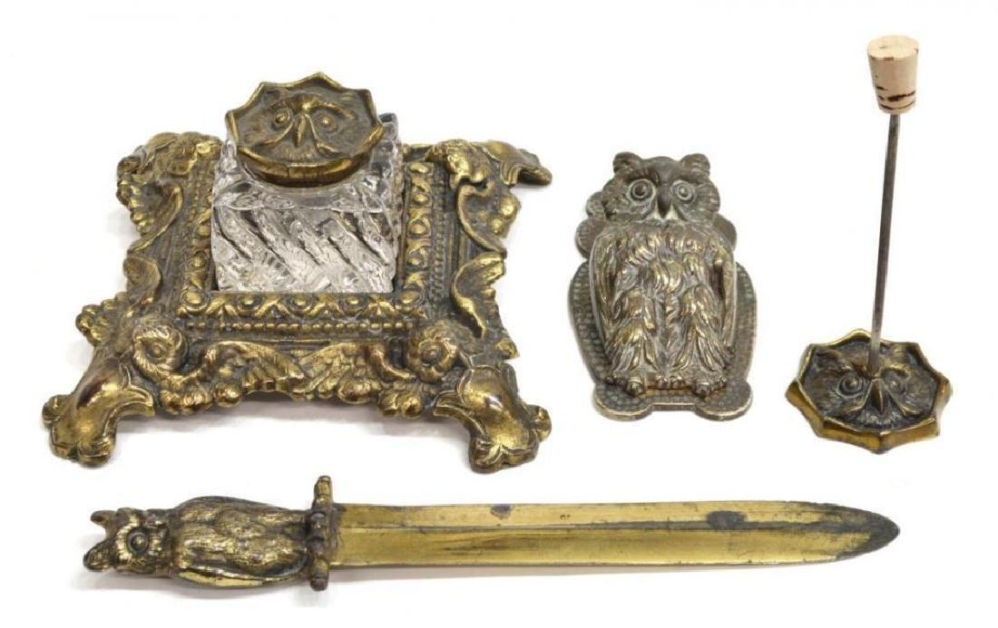 Art Nouveau Cast Iron Owl Desk Set - 2
