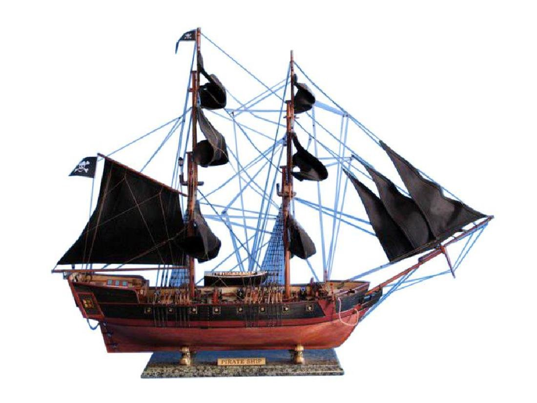"""Wooden Caribbean Pirate Ship Model Limited 37"""" - Black"""