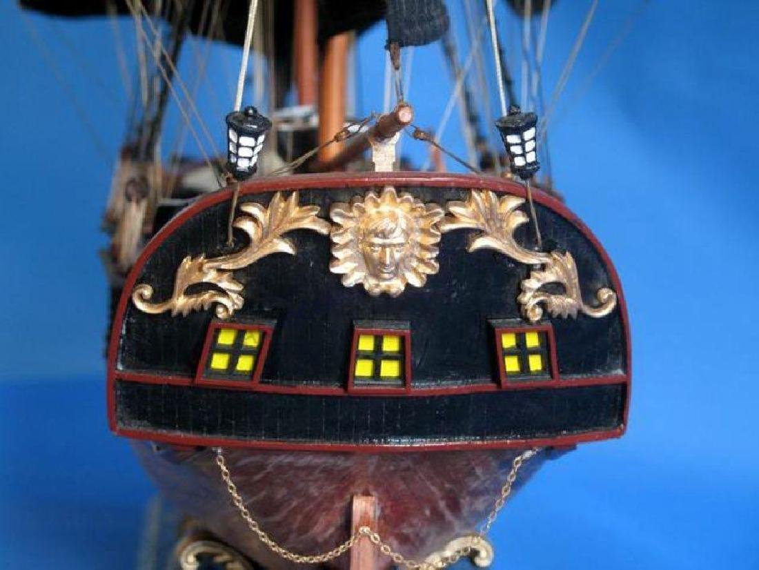 """Wooden Caribbean Pirate Ship Model Limited 37"""" - Black - 4"""