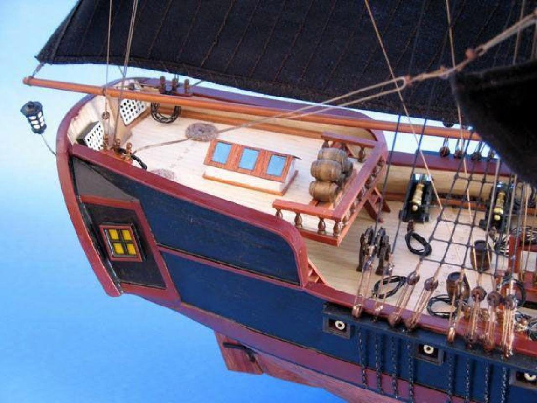 """Wooden Caribbean Pirate Ship Model Limited 37"""" - Black - 5"""