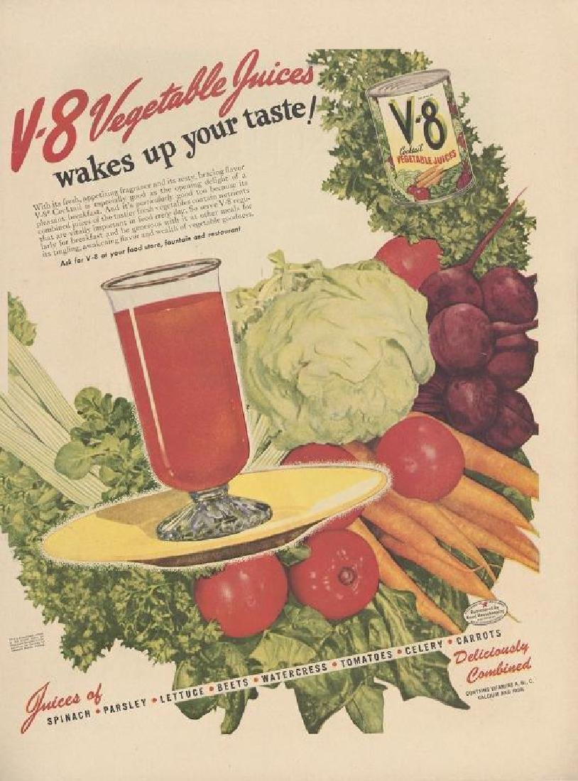 1940's V-8 Vegetable Juice Magazine Ad