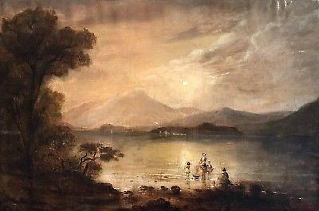 Victorian Scottish Romantic Loch Scene - Figures