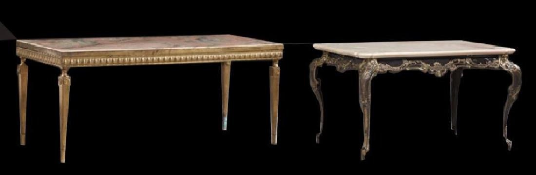 Two French Marble Top Metal Coffee Tables, 19th C.,