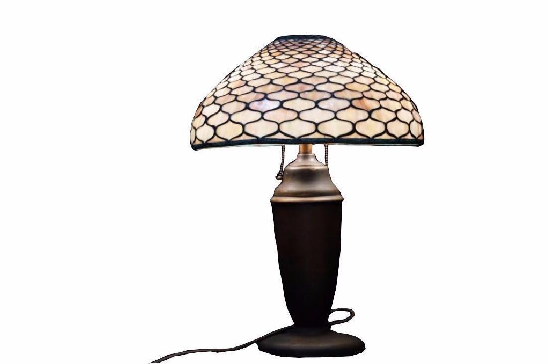 Antique Art Nouveau Stained Glass Lamp