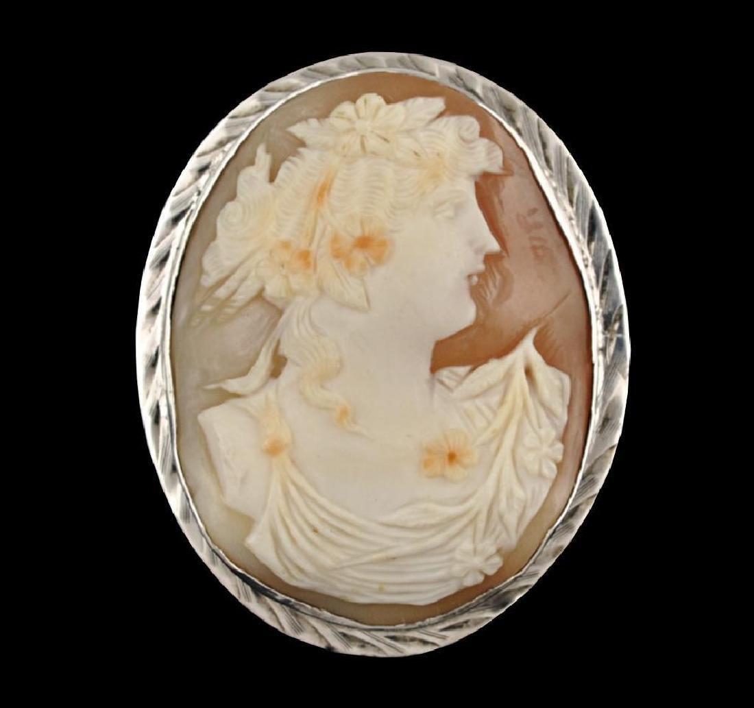 Sterling Silver Italian Cameo Brooch Pin