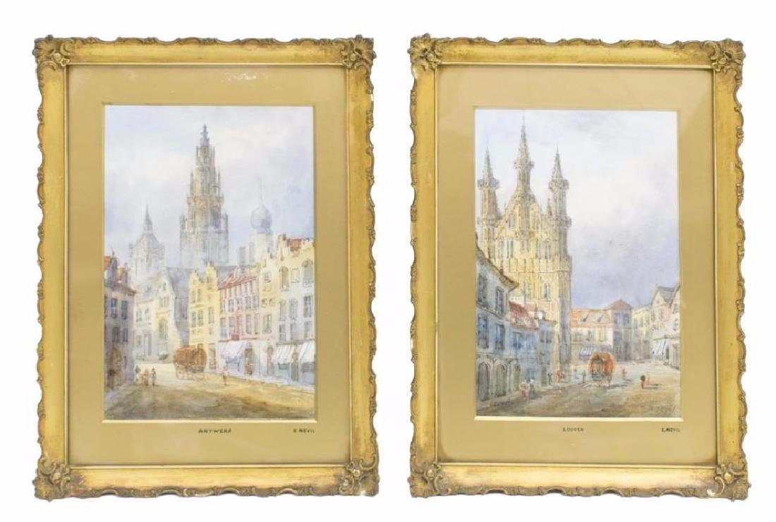 (2) E NEVIL (19TH C.) LOUVEN & ANTWERP WATERCOLORS