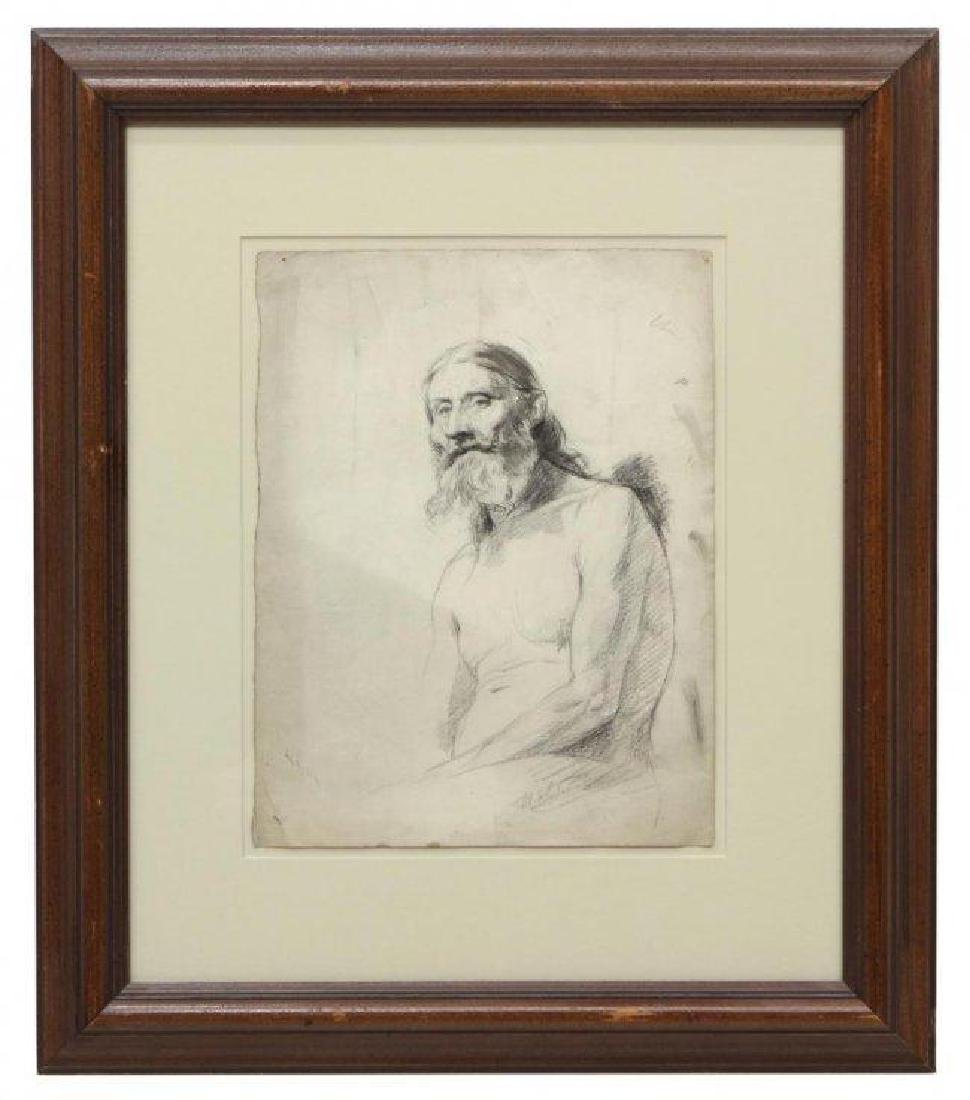 Signed French Portrait, Bearded Man