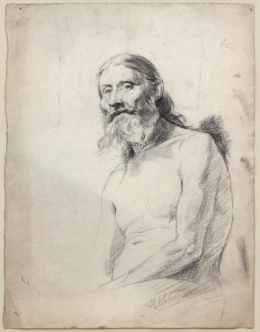 Signed French Portrait, Bearded Man - 2