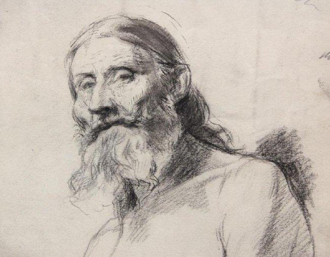Signed French Portrait, Bearded Man - 3
