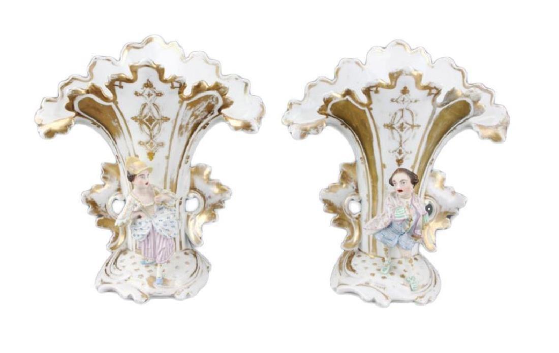 Pair of mid 19thc French Porcelain Flair Vases