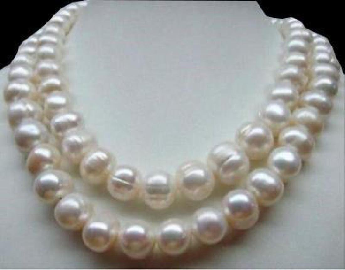 """35"""" 10-11 Mm South Sea Natural White Baroque Pearl"""