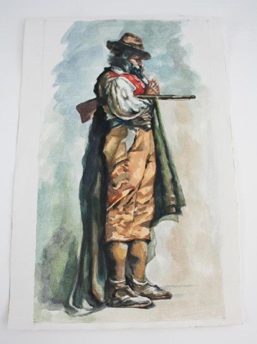 Mid 20thc Watercolor Painting, Hunter with Shotgun