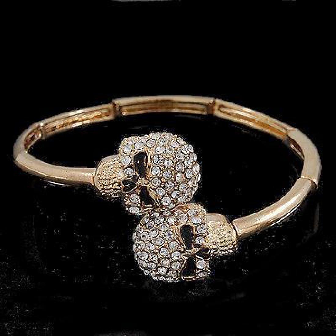 Double Skull' Flex Bangle Bracelet In Gold Plating