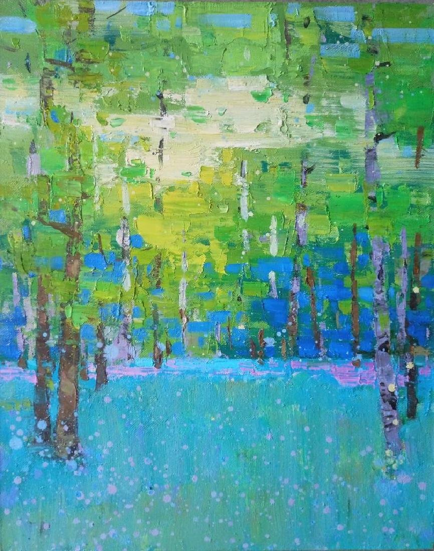 Impressionism oil painting green forest Plein Air Sunny