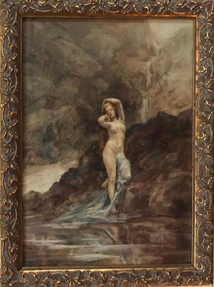 19th Century Oil Painting, Nude Forest Nymph