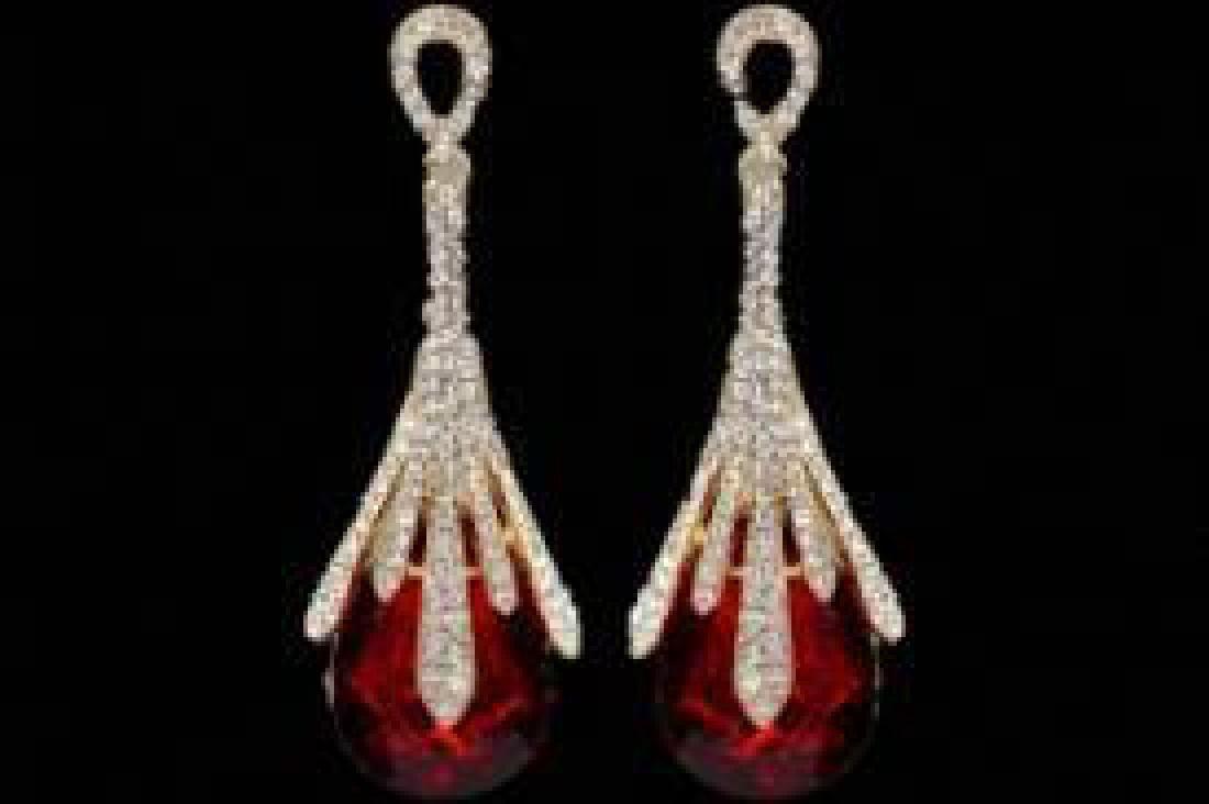 18K Gold Plated GP Red Crystal Rhinestone Wedding Drop
