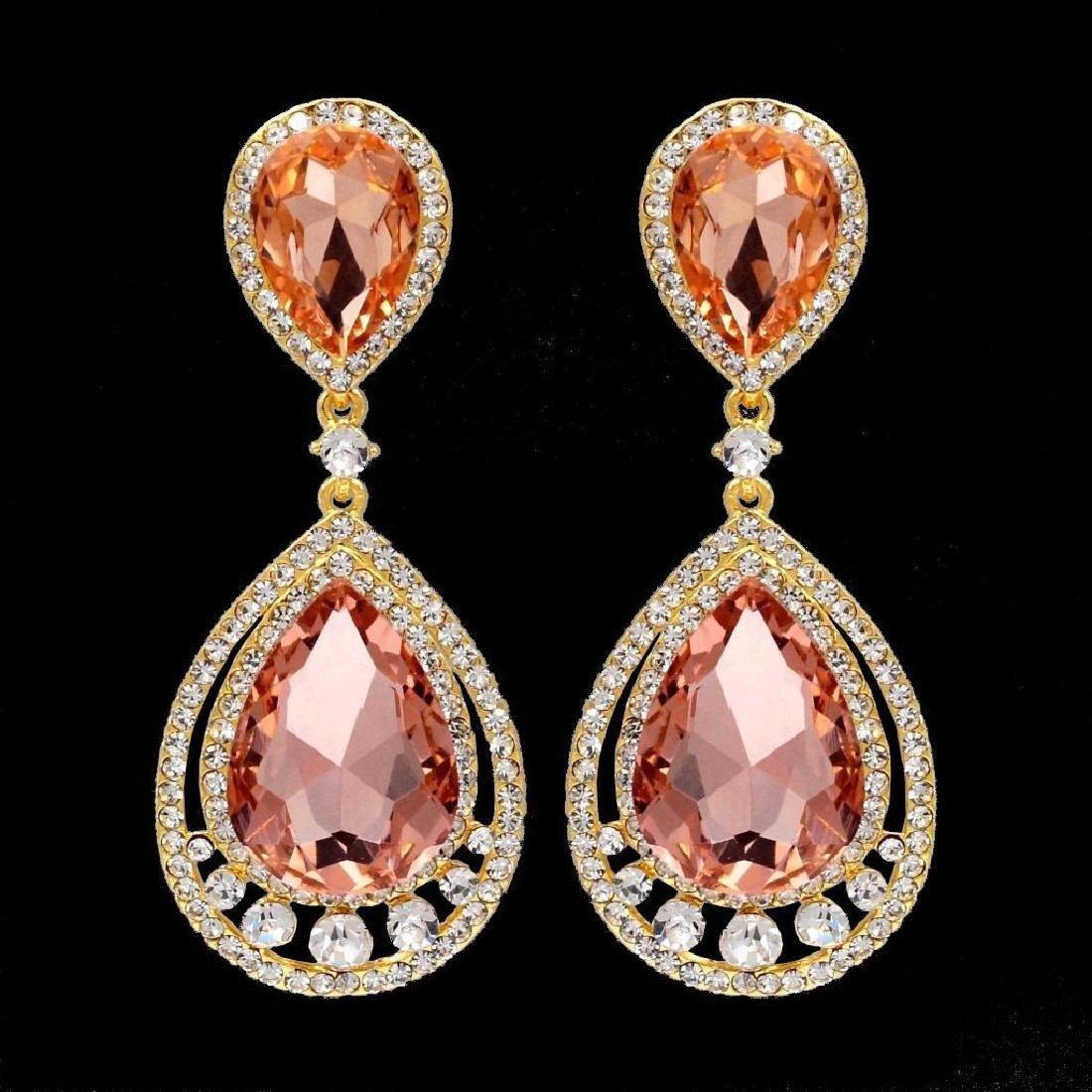 18k Gold Plated Gp Peach Crystal Rhinestone Wedding