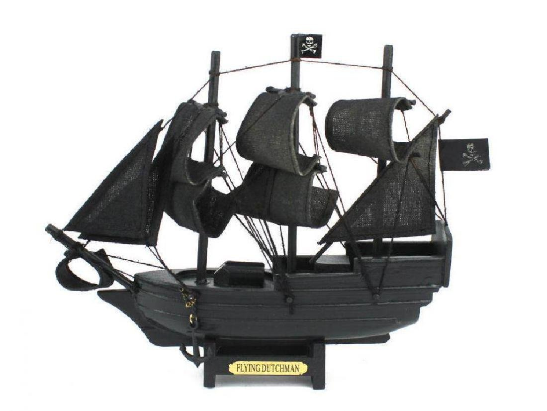 "Wooden Flying Dutchman Model Pirate Ship 7"""