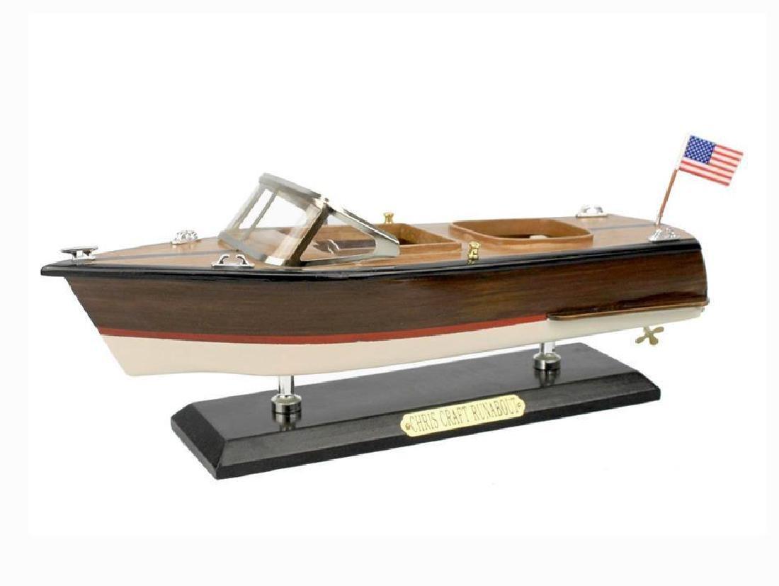 "Wooden Chris Craft Runabout Model Speedboat 14"""