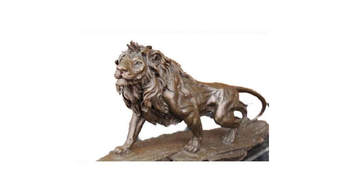 WILD LION AFRICAN ANIMAL BRONZE SCULPTURE STATUE FIGURE